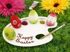 Free Flowers And Easter Eggs On Palette Royalty Free Stock Photography - 19045047