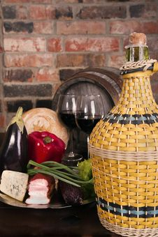 Free Still Life With Wine And Some Vegetablea Royalty Free Stock Photos - 19045088