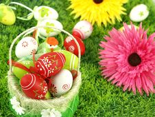 Free Spring Flowers And Colorful Easter Eggs Royalty Free Stock Image - 19045176