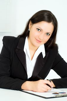 Free Nice Girl Working In The Office Stock Image - 19045311