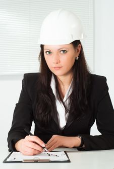 Free Nice Woman In A Business Suit Working Stock Photography - 19045352