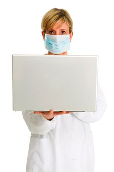 Free Female Doctor With Mask And Laptop Royalty Free Stock Photo - 19046125