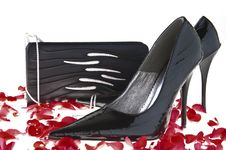 Black Handbag And Woman Shoes Royalty Free Stock Photo