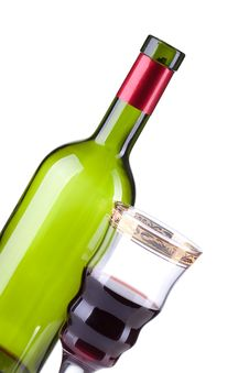 Free Wine Bottle And Wineglass Stock Photography - 19046912