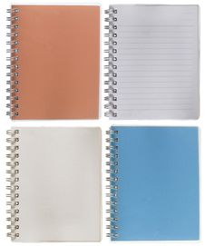 Free Notebook Brown And Blue. Isolated Over White Stock Image - 19047491
