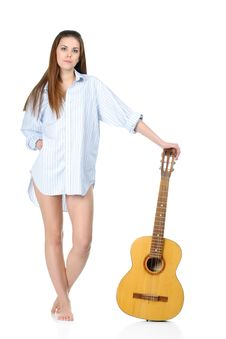 Free Young Woman Wearing Shirt With Guitar Stock Photo - 19047760