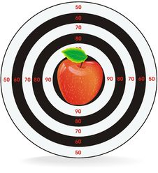 Vector Of Apple In The Center Of The Target Stock Image