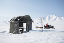 Free Old Wooden Building, Snowmobile, Spitsbergen Royalty Free Stock Photo - 19048325