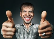 Free Young Happy Man Going Thumbs Up Stock Photos - 19048543