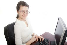 Free Smiling Businesswoman With Computer Royalty Free Stock Image - 19049036