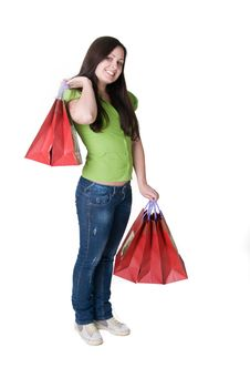 Free Girl With Bags Stock Photography - 19049092