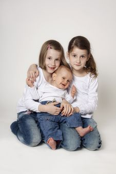 Free Twin Sisters With Baby Boy Brother Royalty Free Stock Image - 19049246