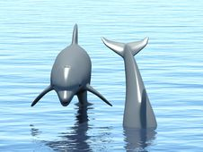 Free Two Dolphins Floating At Ocean. Stock Photo - 19049520