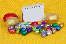 Free Blank Notebook With Easter Chocolate Eggs. Stock Photo - 19049650