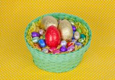 Free Colorful Easter Chocolate Eggs In A Green Basket Stock Photography - 19049742