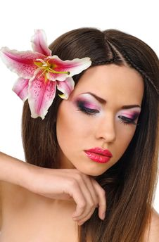 Beauty With Orchid Stock Photo