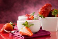 Free Strawberry Yogurt With Mint Leaf Royalty Free Stock Photo - 19051655