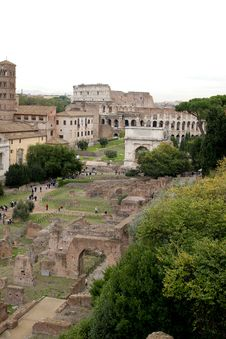 Free Forum Romanum And Colosseum Stock Photography - 19051972