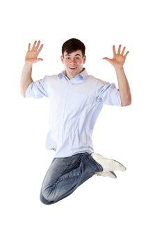 Young Dynamic Sportive Man Jumps High In The Air Royalty Free Stock Images