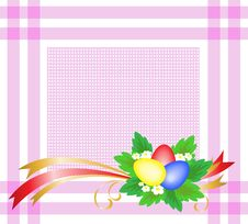 Free Easter Eggs On A Pink Tablecloth Stock Photography - 19053082
