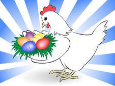 Free Hen Carry Easter Eggs Stock Photo - 19053120
