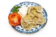 Dumplings On A Plate Royalty Free Stock Photos
