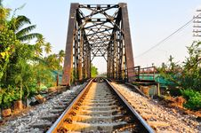 Free Railway Bridge In Bangkok, Thailand. Stock Image - 19053931