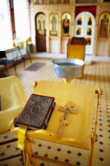 Prayer And Cross With Jesus On Table In Church Royalty Free Stock Image