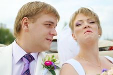 Bride And Groom Fooling With Funny Expressions Stock Photography