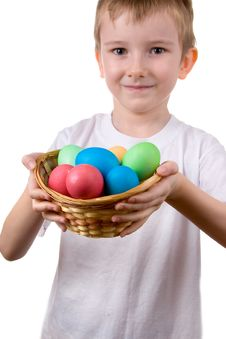 Free Boy With  A Basket With Easter Eggs Royalty Free Stock Photography - 19054257