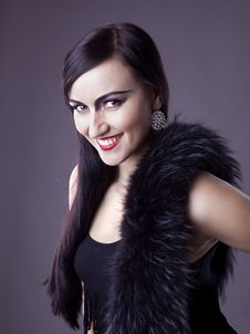 Free Beauty Woman Smile In Fur Boa - Retro Make-up Stock Photography - 19054612