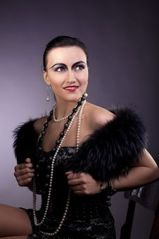 Woman Smile In Fur Boa And Pearl Beads Stock Images