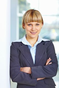 Business Woman With Folded Hands Royalty Free Stock Image
