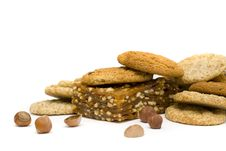 Free Cookies, Nougat And Nuts Isolated On White Royalty Free Stock Photo - 19054935