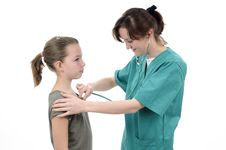 Free Doctor Consulting Girl With Stethoscope Royalty Free Stock Photos - 19056788