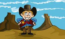 Free Cute Cartoon Cowboy Smiling Stock Photos - 19057593