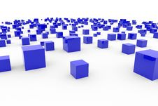 Background With Abstract Blue Cubes Royalty Free Stock Photos