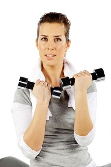 Free Girl Exercising With Weights, Closeup 2 Stock Photography - 19059432