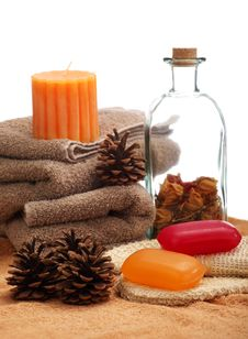 Free Soaps, Towels And Pine Cones Stock Photo - 19059560