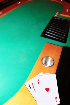 Casino Blackjack Table Ace Of Hearts Royalty Free Stock Photography