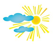 Design Of Summer Day. The Sun With Clouds Stock Photography