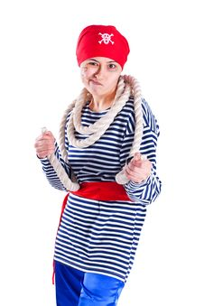Girl Clown Costume Pirate With A Rope Royalty Free Stock Images