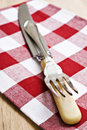 Free Antique Knife And Fork On A Cloth Stock Images - 19066344