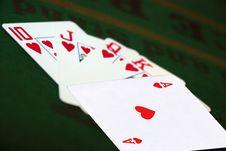 Royal Flush Of Hearts On Green Felt Royalty Free Stock Image