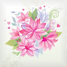 Pink Flower With Heart. Royalty Free Stock Photos