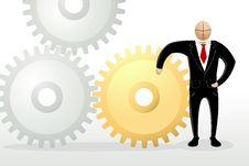 Free Business Man With Cog Wheel Royalty Free Stock Images - 19060899