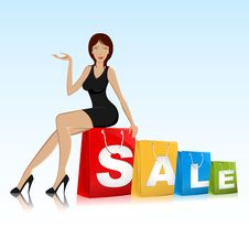 Free Urban Lady Sitting On Sale Royalty Free Stock Photography - 19060947