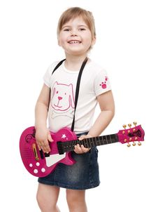 Free Little Girl Playing Toy Pink Electric Guitar Stock Images - 19062264