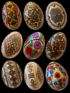 Free Painted Easter Romanian Eggs Isolated Royalty Free Stock Image - 19062766