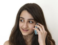 Free Smiling Girl On The Phone Royalty Free Stock Photo - 19063375